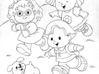 320x240 Little People Coloring Pages Little People Running Down The Hill