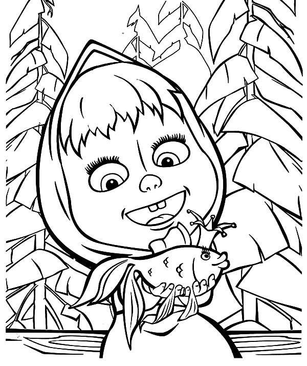 600x714 Masha And The Bear Talking To Magic Fish Coloring Pages Color Luna
