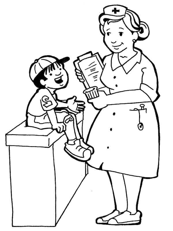 600x800 Nurse Talking With Sick Kid In Community Helpers Coloring Page