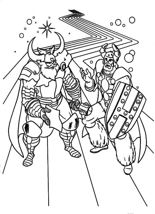 518x713 Odin And His Guard Talking About Thor And Loki Coloring Pages