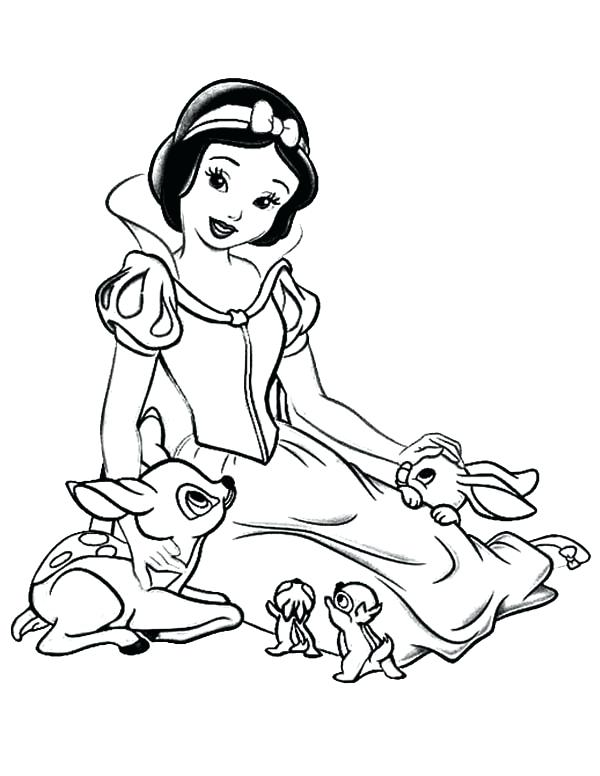 600x776 Snow White Coloring Pages Snow White Talking To Her Jungle Friends