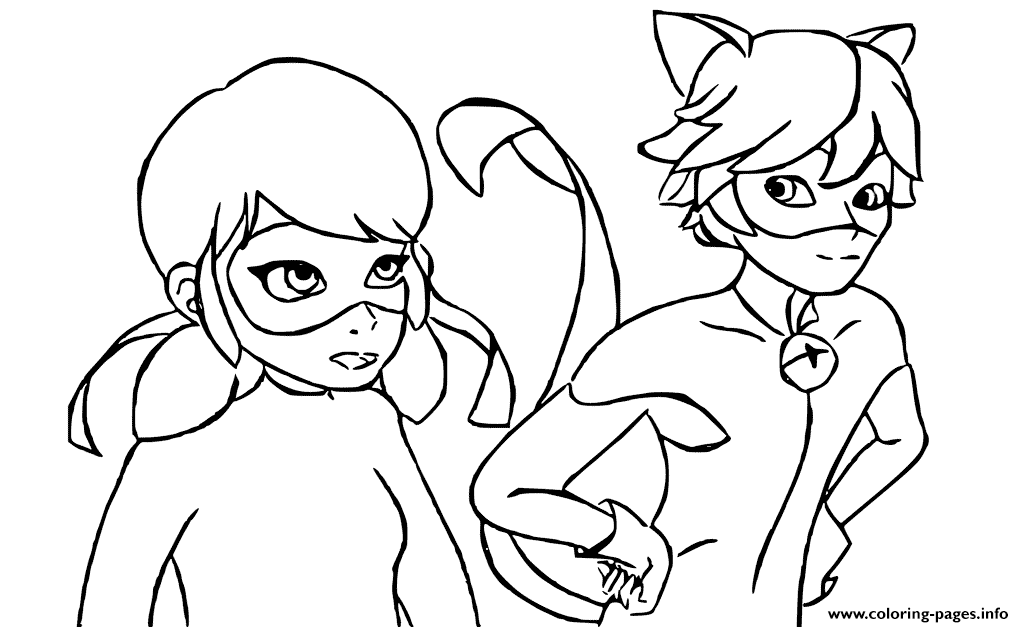 1024x627 Cat Noir And Ladybug In Costumes Together Coloring Page Ladybug