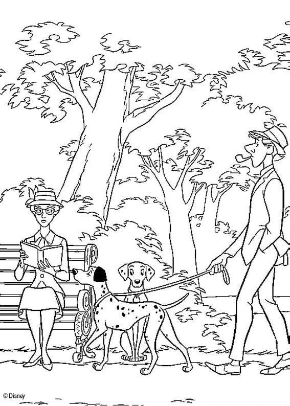 567x794 Dalmatians Walking Coloring Page