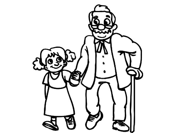 600x450 Grandfather Walking With His Grandchildren Coloring Pages Color Luna