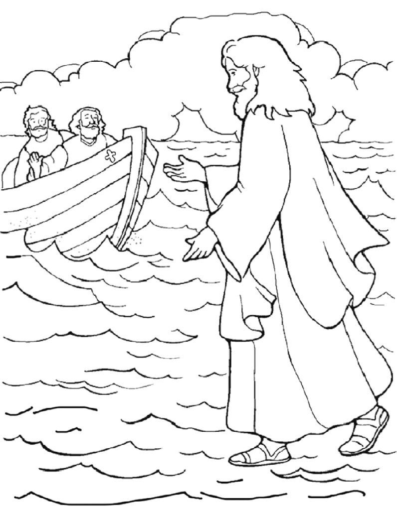 796x1024 Jesus Walking On Water Coloring Page