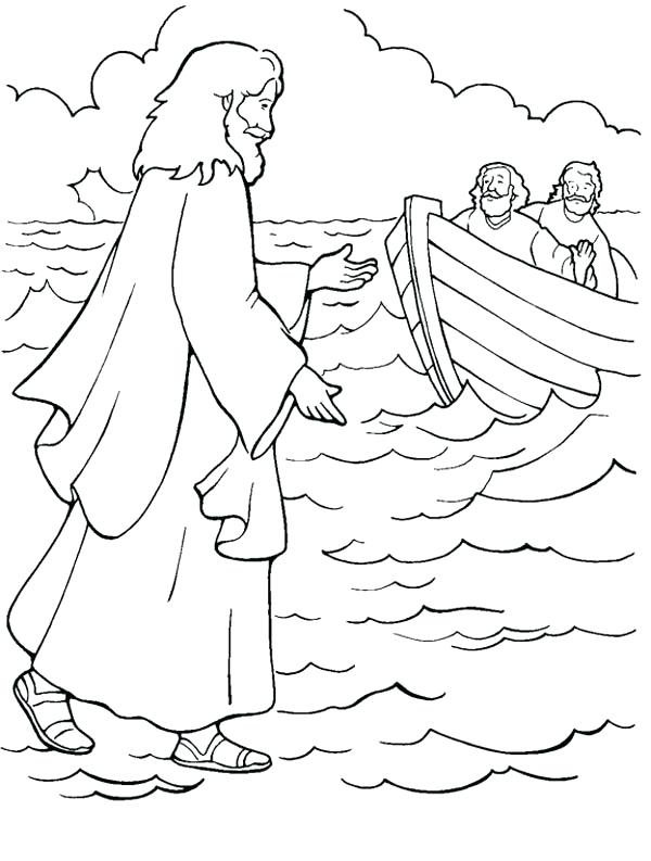 600x793 Jesus Walks On Water Coloring Page One Of Miracles Of Is Walking