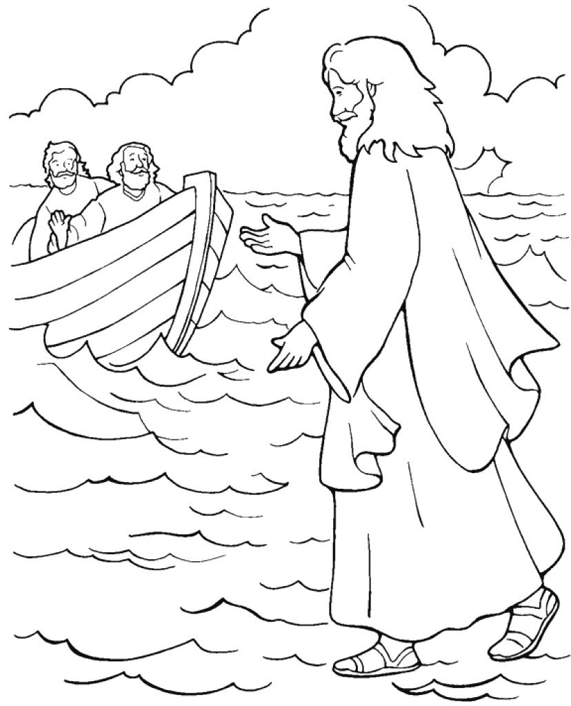 828x1024 Jesus Walks On Water Coloring Page Paginone Biz In Qqa Me
