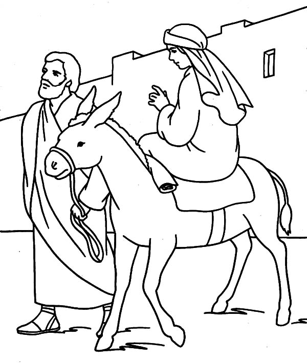 600x710 Joseph Walking Beside Mary And The Donkey Coloring Pages Joseph