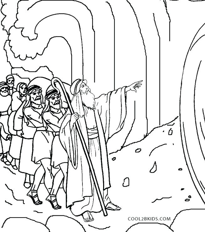 654x740 Practical Moses And The Red Sea Coloring Page Free Printable Pages