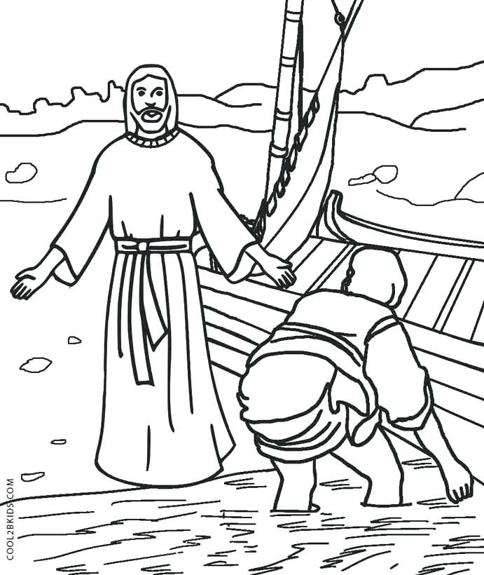 691x820 Jesus Walks On Water Coloring Page