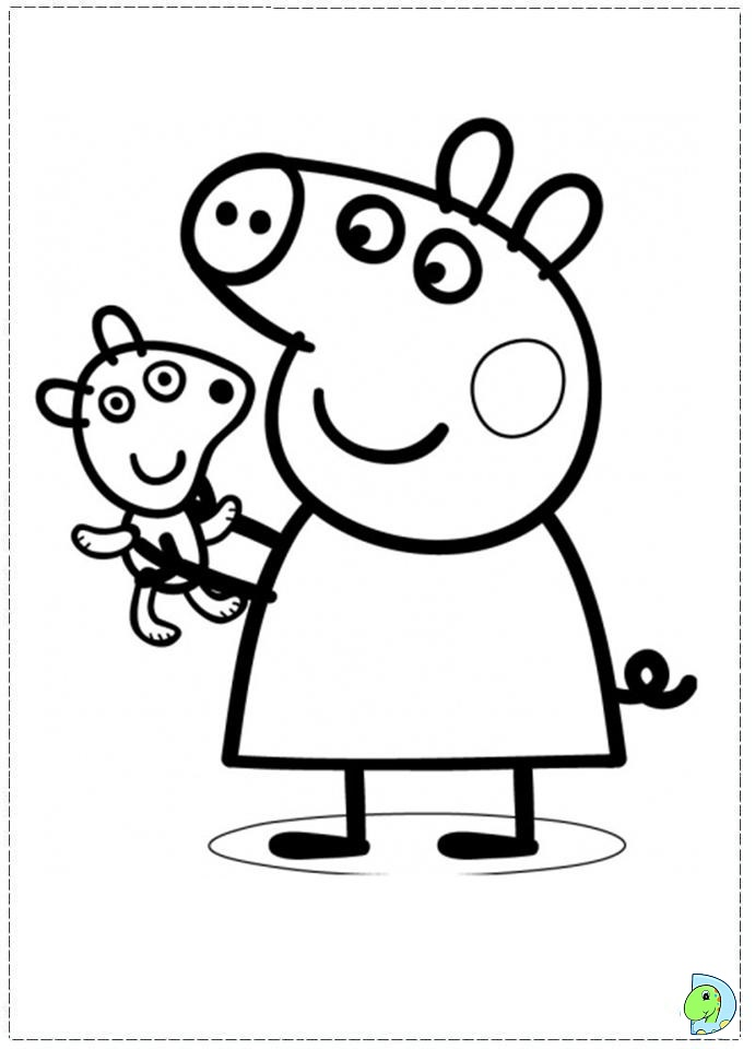 691x960 Peppa Pig With Toy Coloring Pages