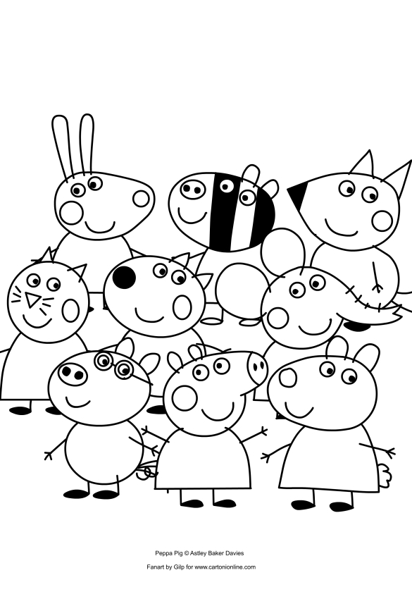 585x850 Peppa Pig And Her Friends Coloring Pages