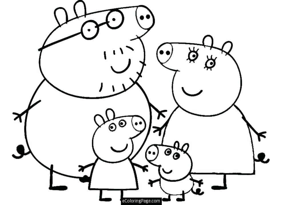 990x718 Pig Color Page Family Pig Coloring Pages Peppa Pig Print Color