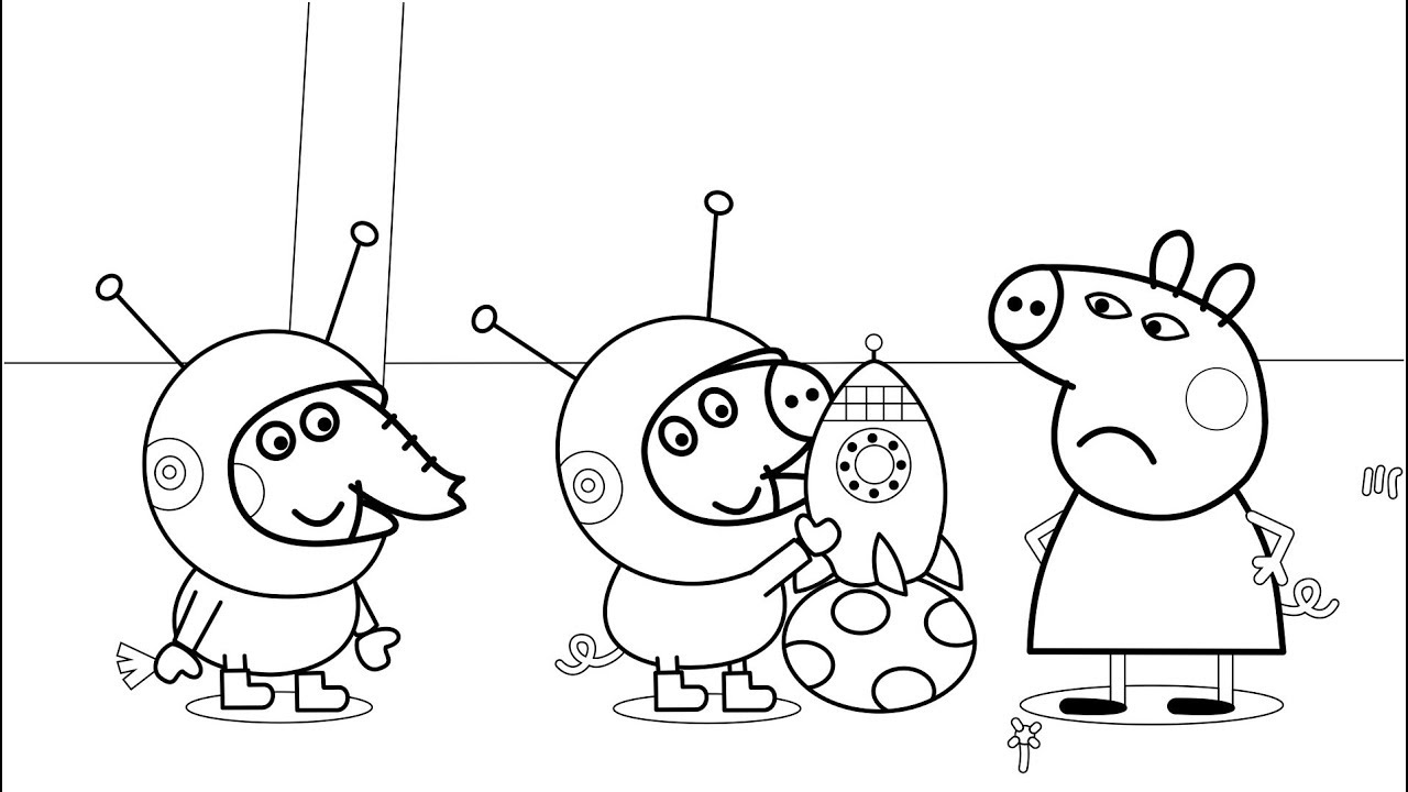 1280x720 Rocket Peppa Pig Coloring Pages With Colored Markers