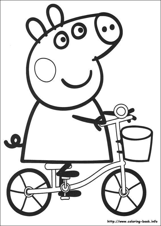 567x794 Kleurplaat Fiets Peppa Pig Pig Party, Birthdays