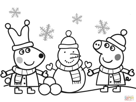 Peppa Pig Christmas Coloring Pages