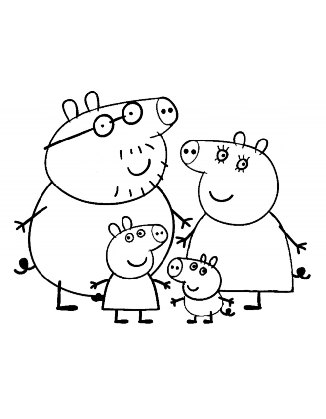 660x847 Peppa's Family Coloring Page Peppa Pig Party Craft