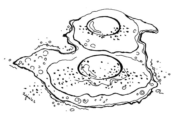 600x396 Fried Egg With Pepper Coloring Pages