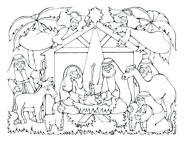 600x460 Printable Nativity Scene Coloring Pages X Printable Christmas