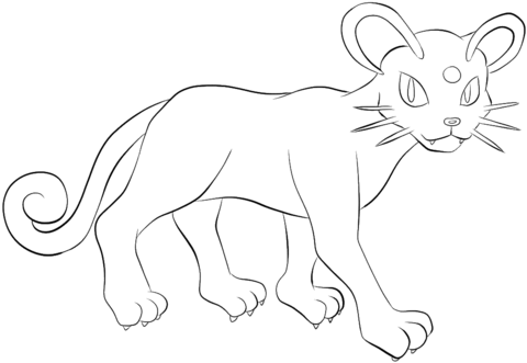 480x331 Persian Coloring Page From Generation I Pokemon Category Select
