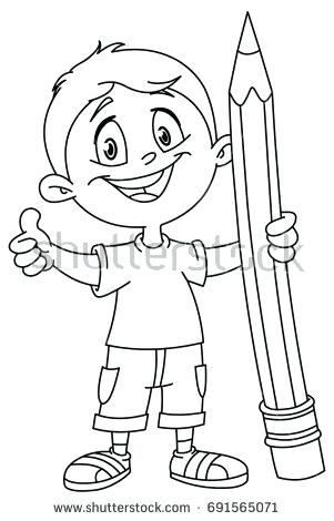 301x470 Person Coloring Page Outlined Young Boy Holding A Big Pencil