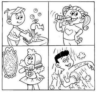 400x377 Hygiene For Preschoolers Worksheets Personal Hygiene Coloring