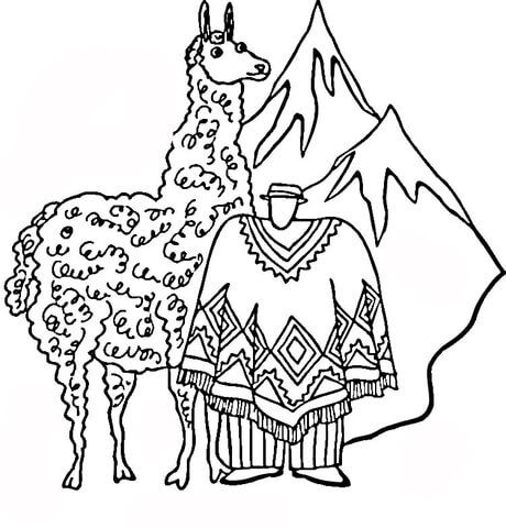 460x480 Huge Llama Coloring Page From Llama Category Select