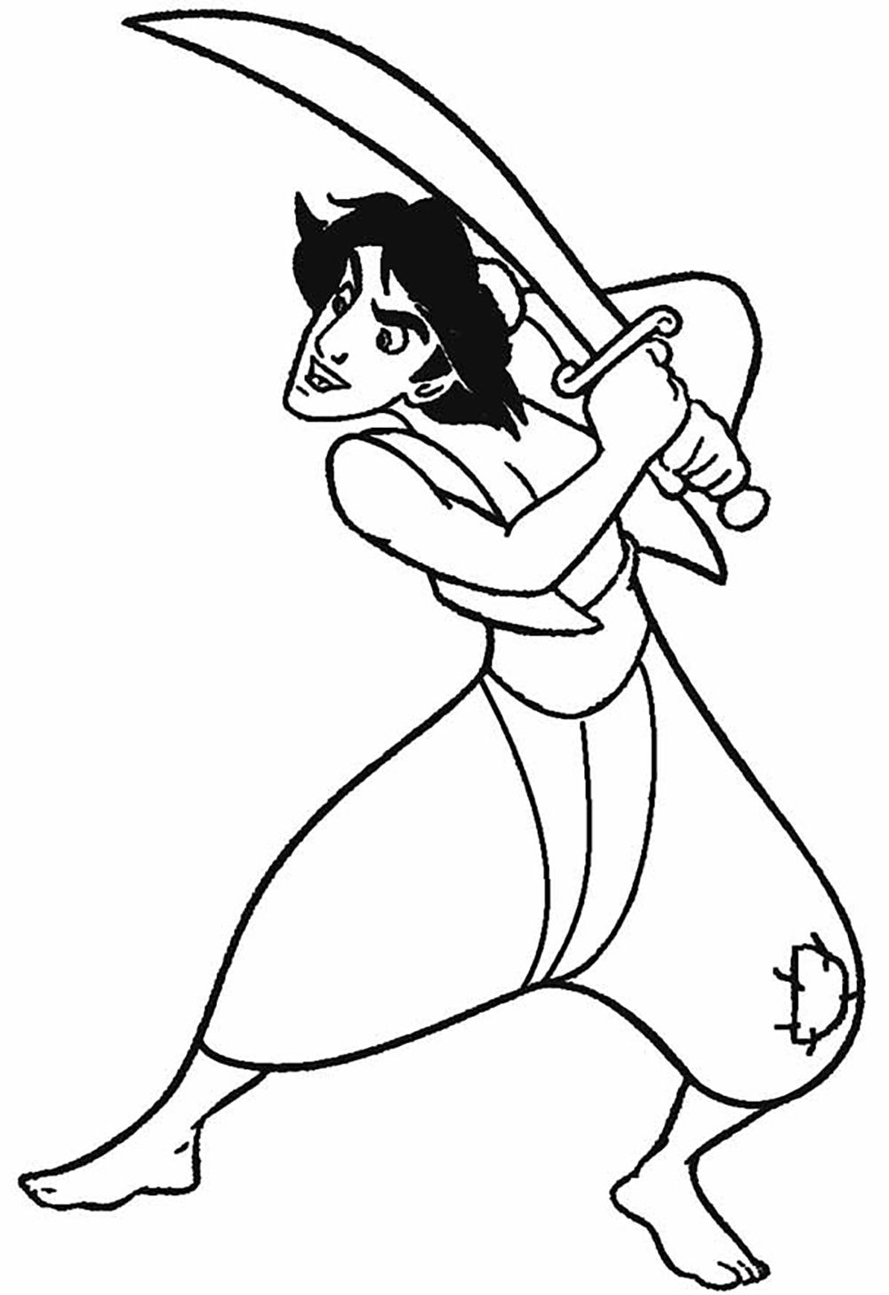 1000x1456 Aladdin Fighting With Swords Aladdin Coloring Pages