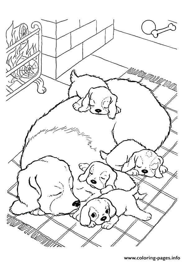 595x842 The Mother Dog With Pups Puppy Coloring Pages Printable The Mother