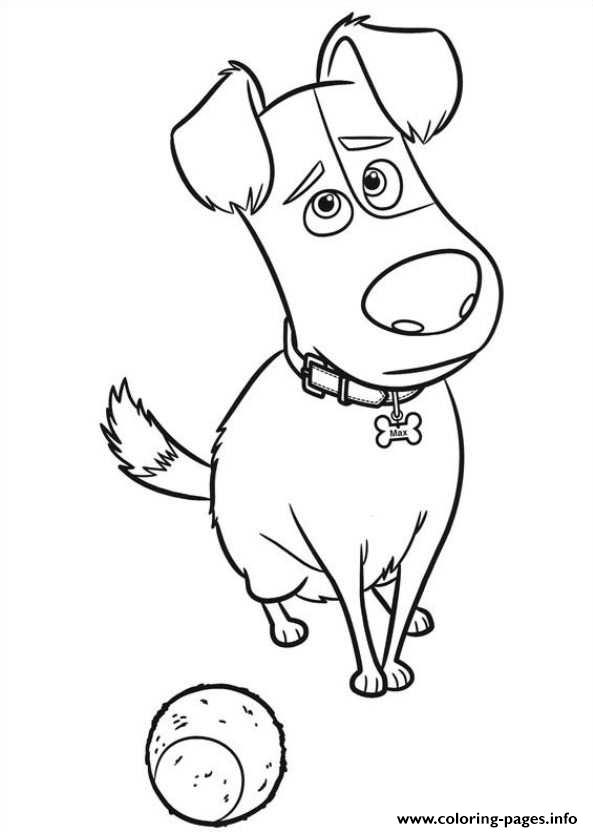 593x832 Max Is Sad With A Ball Secret Life Of Pets Coloring Pages Printable