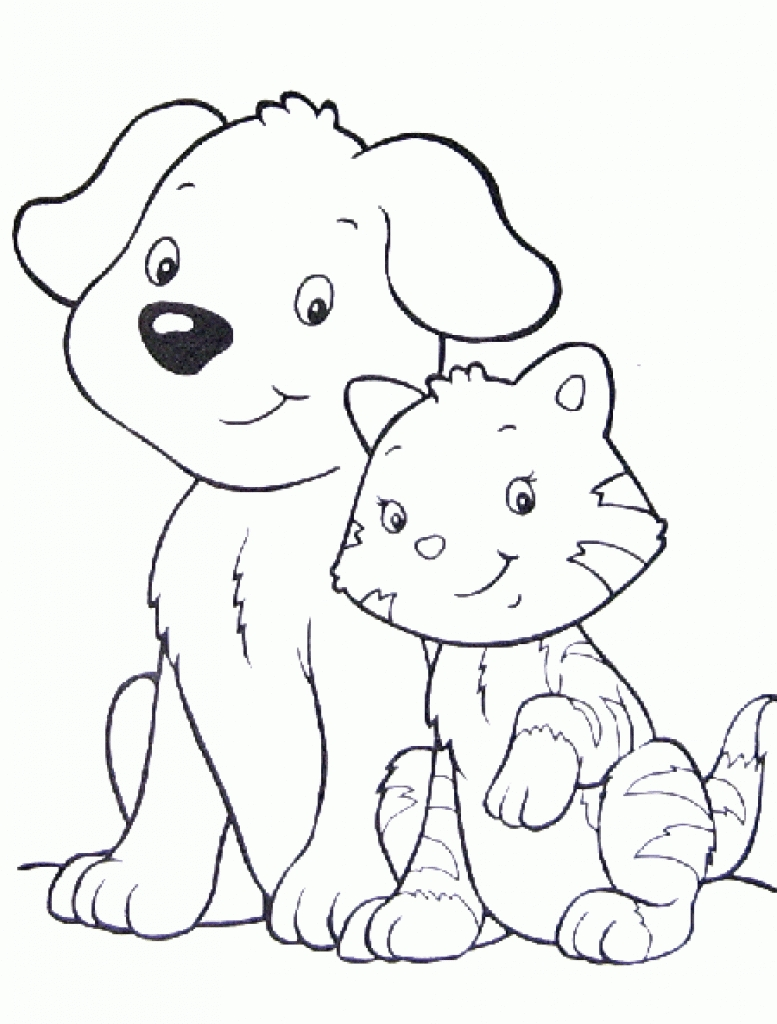 777x1024 Cat And Dog Coloring Pages