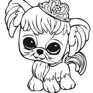 300x300 Little Pet Shop Little Dog Wearing Crown Coloring Pages Batch
