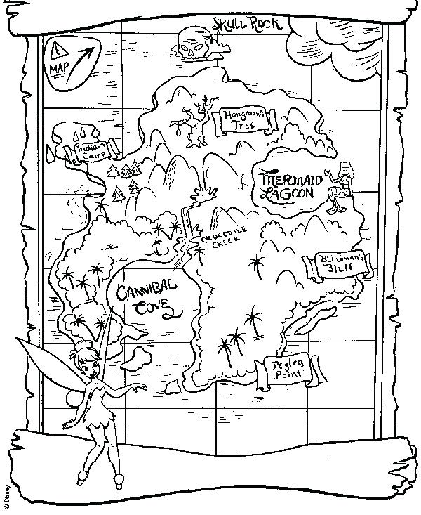 600x733 Peter Pan Tinkerbell Coloring Pages Map For Peter Pan