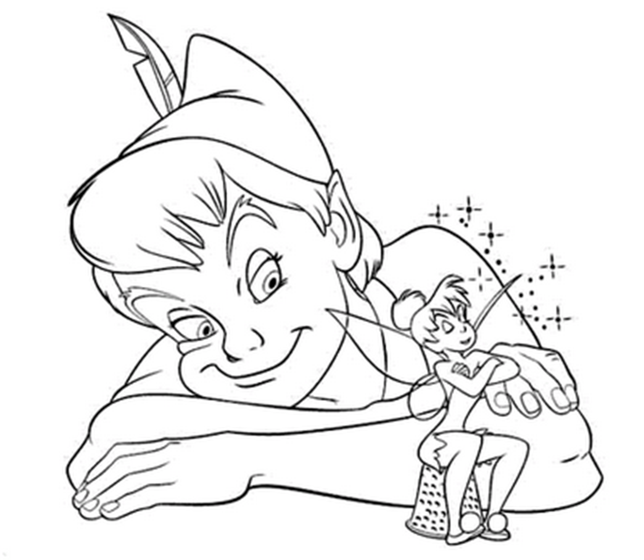 1267x1102 Incridible Peter Pan And Tinkerbell Coloring Pages From Peter Pan