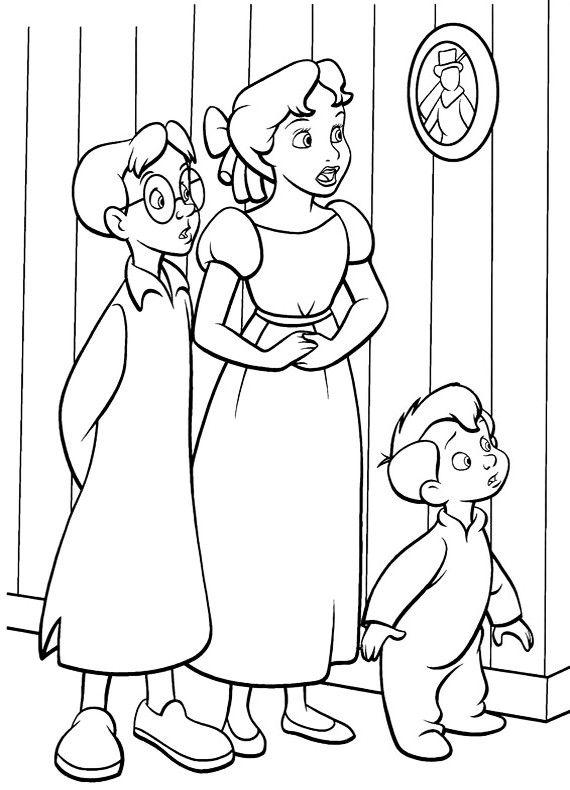 570x790 Michael Darling Peter Pan Coloring Page Peterpan Wendy Coloring
