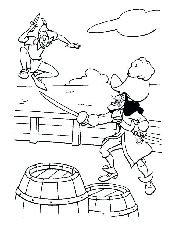 600x735 Captain Hook Coloring Pages Peter Pan Fight With Captain Hook