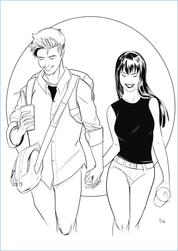 600x844 Peter Parker And Jane Meteor Rain Spiderman Coloring Page