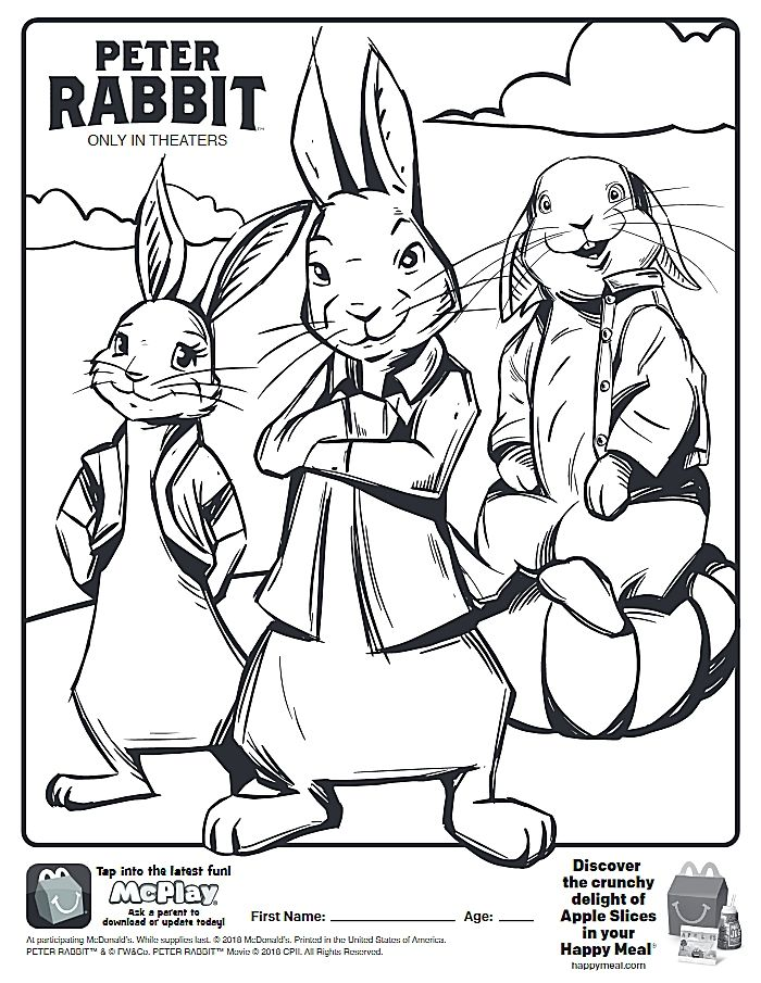 700x905 Here Is Happy Meal Peter Rabbit Movie Coloring Page! Click