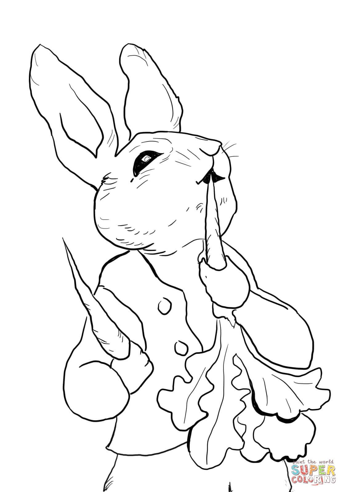 1114x1600 Peter Rabbit Eating Radishes Coloring Page From Peter Rabbit
