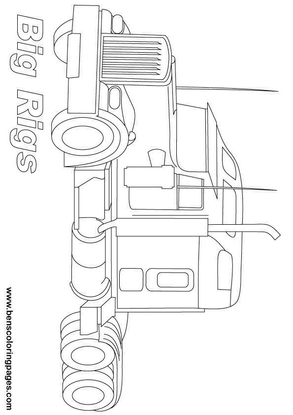 595x842 Peterbilt Semi Truck Coloring Pages Crafty Things Diy Projects