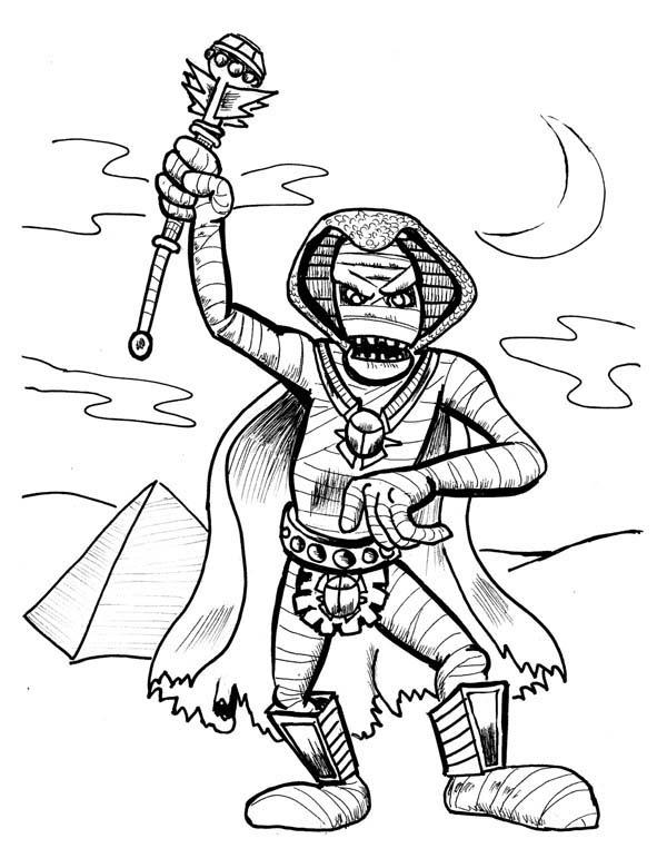 600x780 Pharaoh Mummy Free Coloring Page