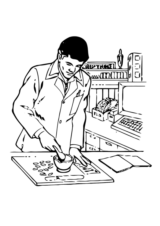 531x750 Coloring Page Pharmacist