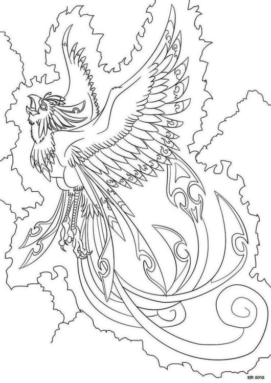530x749 Phoenix Bird Coloring Page Free Printable In Beatiful Draw Photo