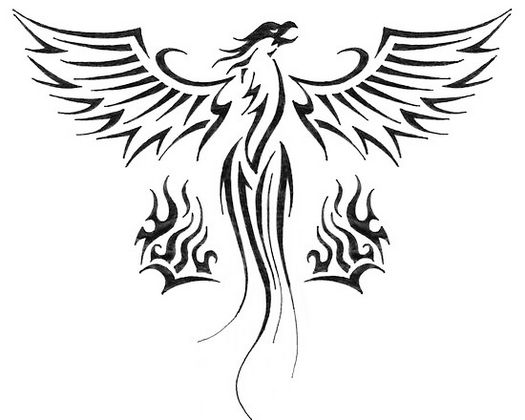525x420 Phoenix Bird Coloring Pages