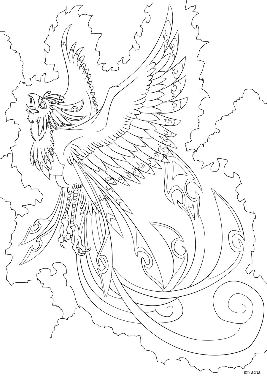 900x1273 Phoenix Bird Coloring Pages Download Coloring For Kids