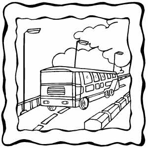 300x300 Moving Bus On Frame Coloring Page