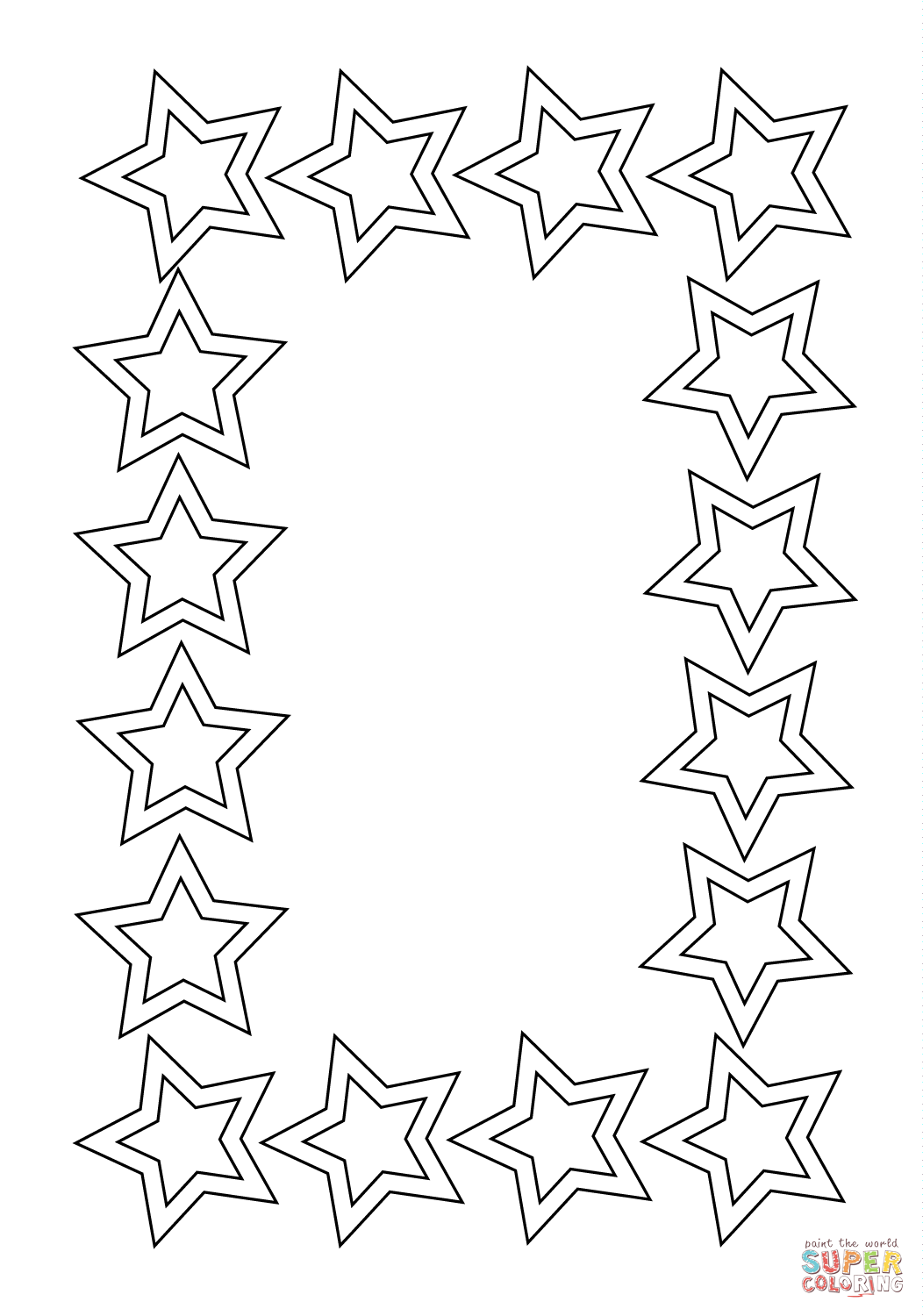 1052x1500 Spotlight Picture Frame Coloring Page Stars Fr
