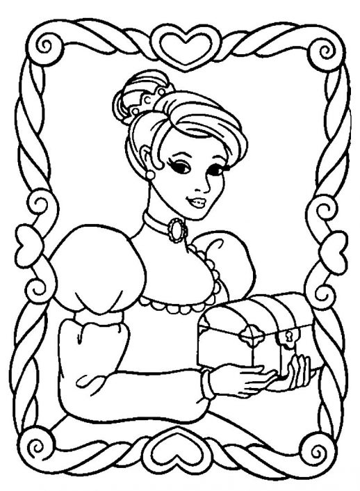 518x706 Beautiful Princess With Jewelry Box In A Frame Coloring Pages
