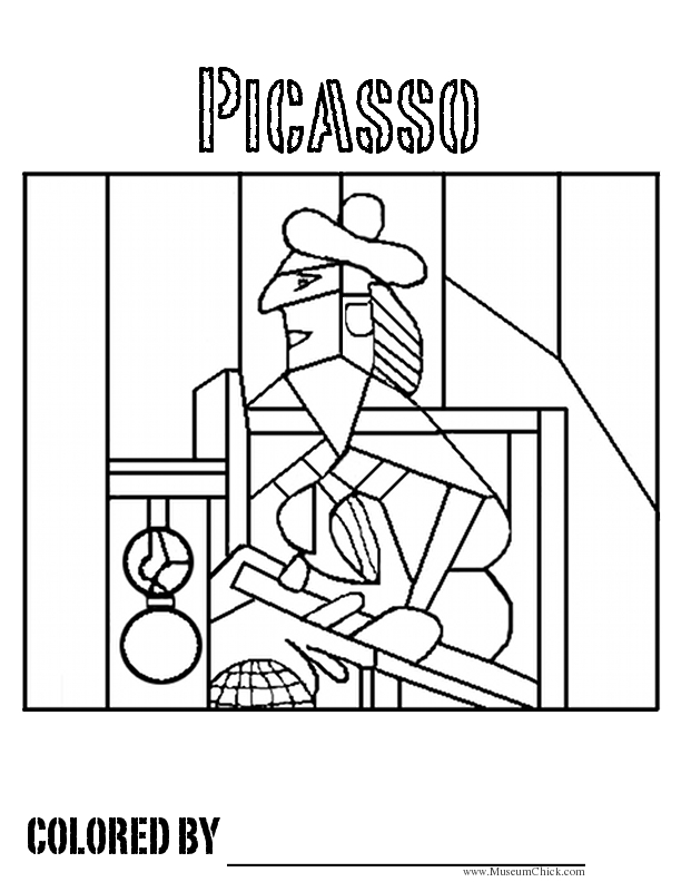 612x792 Picasso Cubism Coloring Pages