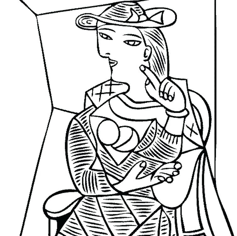 754x750 Picasso Cubism Coloring Pages Pablo Picasso Coloring Pages Free